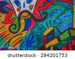 beautiful street art graffiti....   Shutterstock . vector #284201753