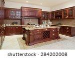 modern kitchen interior and... | Shutterstock . vector #284202008