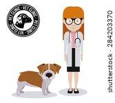 pets love design over white... | Shutterstock .eps vector #284203370