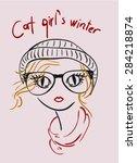 cat girl's winter | Shutterstock .eps vector #284218874