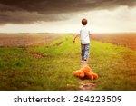 child leaves teddybear alone | Shutterstock . vector #284223509