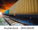 boxcar container trains on... | Shutterstock . vector #284228630