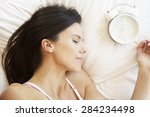 woman sleeping in bed with... | Shutterstock . vector #284234498