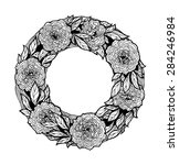wreath of roses  peonies. hand ... | Shutterstock . vector #284246984