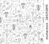 vector vegetables pattern.... | Shutterstock .eps vector #284253890