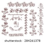 vintage retro floral seamless... | Shutterstock . vector #284261378