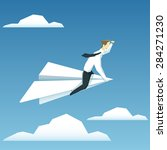 businessman is flying on paper... | Shutterstock .eps vector #284271230