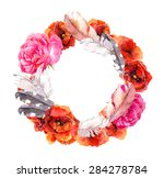 floral wreath with flowers ... | Shutterstock . vector #284278784