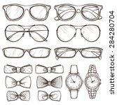 set of vector sketched... | Shutterstock .eps vector #284280704