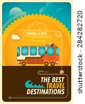 traveling poster with bus.... | Shutterstock .eps vector #284282720
