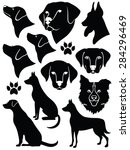 Stock vector set of silhouettes of dogs 284296469