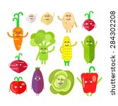 set of flat cartoon vegetables... | Shutterstock .eps vector #284302208