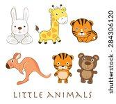 funny animals set. vector... | Shutterstock .eps vector #284306120