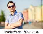 portrait of a trendy young man... | Shutterstock . vector #284312258