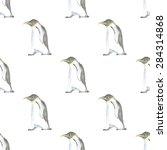 watercolor cute penguin in... | Shutterstock .eps vector #284314868