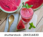 watermelon smoothie on a wooden ... | Shutterstock . vector #284316830