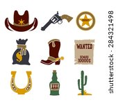 wild west cowboy flat icons set ... | Shutterstock .eps vector #284321498