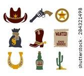 wild west cowboy flat icons set ... | Shutterstock .eps vector #284321498