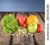 nutritional supplement  capsule ...   Shutterstock . vector #284328188