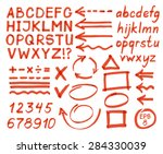 letters  numbers  arrows ... | Shutterstock .eps vector #284330039