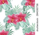tropical background with red... | Shutterstock .eps vector #284330738