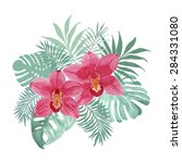 tropical bouquet with orchid... | Shutterstock .eps vector #284331080