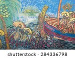 Small photo of SALVADOR, BRAZIL - MARCH 12, 2015: Colorful Brazilian street art graffiti scene showing Bahian fishermen catching fish on a tropical beach.