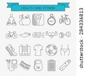 health and fitness line icons... | Shutterstock .eps vector #284336813