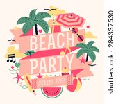 beautiful beach party design... | Shutterstock .eps vector #284337530