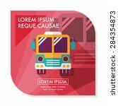 transportation bus flat icon... | Shutterstock .eps vector #284354873