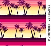 tropical palms at sunset... | Shutterstock .eps vector #284362988