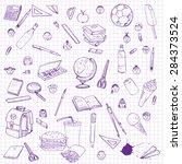 set of school objects  doodle... | Shutterstock .eps vector #284373524