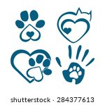 Stock vector the sign of love for animals with paws heart and hand 284377613