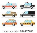 set of cartoon cars. flat... | Shutterstock .eps vector #284387408