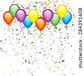 confetti with balloons... | Shutterstock .eps vector #284391608