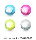 Disco Mirror Balls Isolated On...