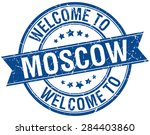 welcome to moscow blue round...   Shutterstock .eps vector #284403860