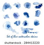 set of blue watercolor stains.... | Shutterstock .eps vector #284413220
