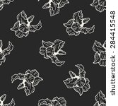 flower doodle seamless pattern... | Shutterstock . vector #284415548