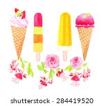 ice cream and flowers... | Shutterstock .eps vector #284419520