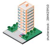 isometric multistory building... | Shutterstock .eps vector #284425910