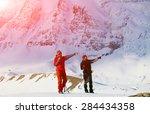 hiking photographer taking... | Shutterstock . vector #284434358