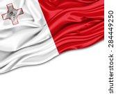 Malta Flag Of Silk And White...