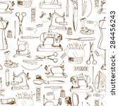 seamless pattern  sewing tools... | Shutterstock . vector #284456243