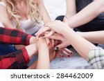 group of students in a bright... | Shutterstock . vector #284462009