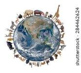 animal stand around the world... | Shutterstock . vector #284462624