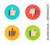thumbs up icons set. flat style ...   Shutterstock .eps vector #284466614