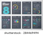 Infographic brohucres with fresh colors on a black background. Big set of modern infographic vector elements for web, print, magazine, flyer, brochure, media, marketing and advertising concepts. | Shutterstock vector #284469494