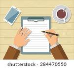 businessman signing business... | Shutterstock .eps vector #284470550