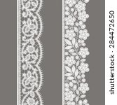 white lace. vertical ribbon.... | Shutterstock .eps vector #284472650
